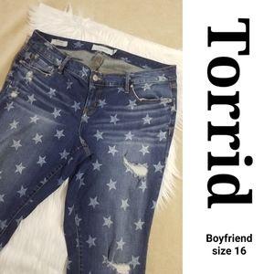 Torrid Boyfriend Jeans sz 16 Fade Ripped